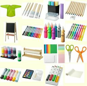 IKEA MALA Kids Art & Craft Painting Easel Apron Chalks Board Gel Pen Brush Paper