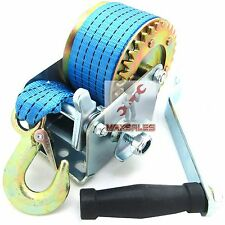 New 600lbs Pu Strap Heavy Duty Hand Winch GEAR Hand Crank ATV Boat Trailer