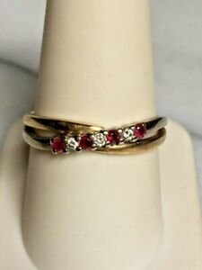 YELLOW GOLD DIAMOND & PINK TOPAZ CROSS-OVER BAND RING SIZE 9.5