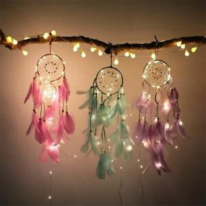 Dream Catcher With Copper Wire Fairy String Lights Girls Bedroom Decoration Gift