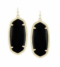 Kendra Scott Elle Gold tone Drop Earrings in Black Opaque Glass NWT