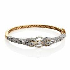 Yellow gold finish leopard battle cluster style created diamond bangle