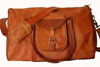 "Men's Women's 20"" Leather Shoulder Bag Tote Large Laptop Travel Duffel Luggage"