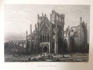 1868 Antique Print;  Melrose Abbey, Borders