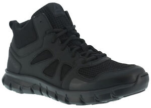 Reebok RB8405 Men's Sublite Cushion Mid-Cut Black Soft Toe Tactical Boots Shoes