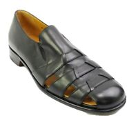 Mezlan Mens Size 9 Slip On Fisherman Sandals Shoes Black Leather Made In Spain