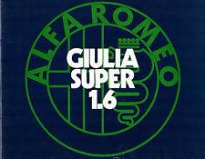 ALFA ROMEO GIULIA 1.6 SUPER BERLINA 1972-75 UK Opuscolo Vendite sul mercato