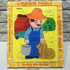 Vintage Playskool Farmer Wooden Tray Puzzle with  Box from 1960s 70s Playschool
