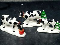 Dept 56 A Herd of Holiday Heifers Cows Set of 3 Cows Original Snow Village 5455