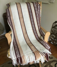 Vintage Hand Woven Burgundy Red, Tan & Beige Chevron Striped W/ Fringe Throw