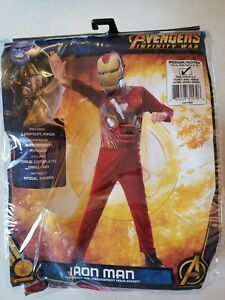 New Iron Man Costume Boys Child Medium Avengers Infinity War Red Jumpsuit Mask