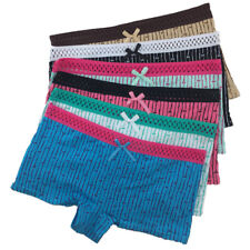6 Pack Ladies Sexy Striped Boxer Shorts Knickers Pants Women's Cotton Underwear