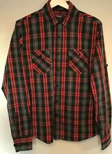 Pull And Bear Mens Shirt Size M Red Check Double Fronted Pockets