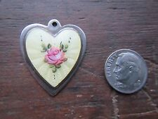 New listing Vintage Large Silver Enamel Heart Charm~Yellow Guilloche with Rose