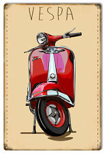 Reproduction Red Vespa Motor Bicycle Sign