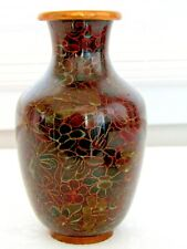 Antique Chinese Cloisonne 5.5 Inch Floral Vase with Gold Wire