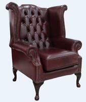 Chesterfield Armchair Queen Anne High Back Wing Chair Bonded Burgandy Leather