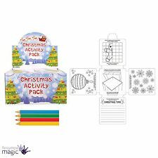 Childrens Kids Christmas Activity Play Pack Set Colouring Crayons Xmas Eve Gift