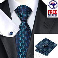 Premium Geometric Blue Green Men Tie Silk Jacquard Formal Wedding Cufflink Hanky