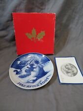 Bing & Grondahl Copenhagen Christmas Plate 2001 Playing in the Snow + Box & Coa