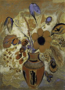 Odilon Redon Etruscan Vase with Flowers Giclee Canvas Print Paintings Poster