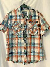 AFFLICTION XL Mens Plaid Button Down Short Sleeve Shirt / NWT