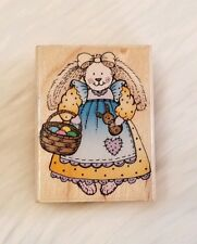 Country Bunny Rubber Stamp Easter Basket Hero Arts D1222 Wood Mounted Vtg. 1996