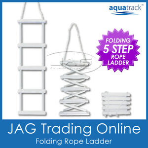 5 STEP FOLDING ROPE LADDER - Boat Marine Yacht Gunwale Cleat Boarding Steps PVC