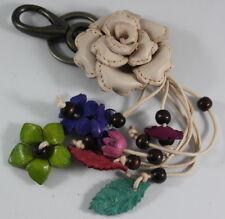 Ivory Rose Genuine Leather Keychain Purse Handbag Flower Charm Handmade Gift New