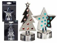 2er Set Kunststoff Teelicht Stern & Weihnachtsbaum silber, LED Farbwechsel