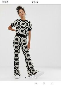 BNWT Asos Geometric Knitted Loungewear Set, Flares, *see description SIZE 16*