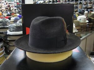 DOBBS WORLD T BLACK MIX LONG HAIR FUR FELT FEDORA DRESS HAT