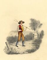 H.E.S. Farm Boy with Hay Fork – Original early 19th-century watercolour painting
