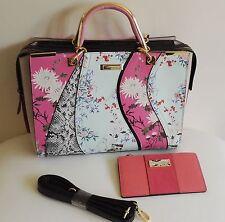 River Island Floral Wave Print Hand Bag & Matching Card Holder Wallet Brand New