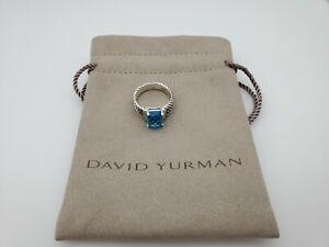 David Yurman Petite Wheaton Ring with Blue Topaz and Diamonds 10x8mm Size 7.5