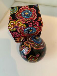 Vera Bradley Hand Painted Christmas Ornament Symphony In Hue with Matching Box