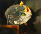 Wall art Still Life Yellow rose in the cup Oil Painting Printed on canvas L588