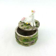 Unicorn Jewelry Trinket Box with Pink Mane and Tail