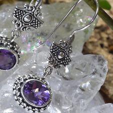 zauberhafte 925 Silber Ohrhänger Amethyst Handgeschmiedet Ohrringe Mittelalter