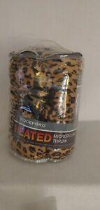 New Biddeford Heated Microplush Brown Leopard Throw Electric Blanket 50 x 62