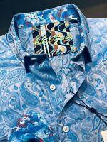 Robert Graham Medium Shirt Mens Abalone Way Light Blue Paisley Long Sleeve New
