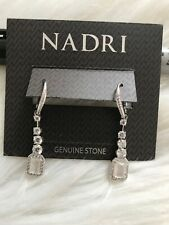 New Nadri White Stone Drop Earrings Silver Tone Beautiful jewelry wedding Gift
