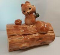 "Large Vintage Squirrel On A Log Shaped Cookie/Nut Jar Canister 10.5""x10.5"" McCoy"