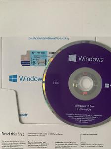 WINDOWS PRO 10 64 BIT DVD + GENUINE PRODUCT KEY STICKER COA FULL VERSION