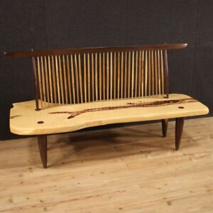 Divano design in stile Conoid Bench George Nakashima panca in legno scolpito