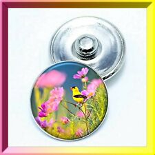 (Cart any 4, 2 w/be FREE!) Spring YELLOW BIRD IN FIELD Snap Button Charm