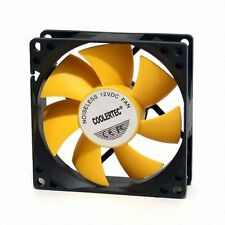 New Design PC Fan Ultra Quiet High Performance 80mm, 25T, 3/4 Pin Yellow Wing