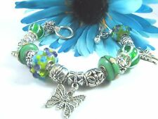 European Style Green Murano Beads and Butterfly Charm Bracelet