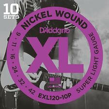 D'Addario EXL120-10p Electric Guitar Strings 9-42 Super Light