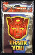 8 Transformers Birthday Party THANK YOU Cards with Envelopes included